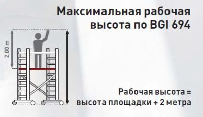 Передвижная вышка без связей с широкой площадкой Zarges Z600 52470