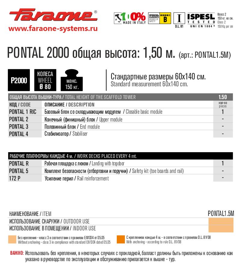 PONTAL 2000 1.5m